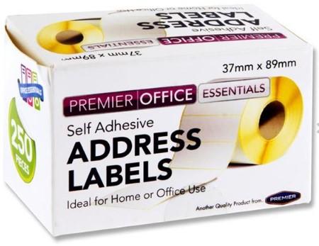 Roll 250 89x37mm Address Labels