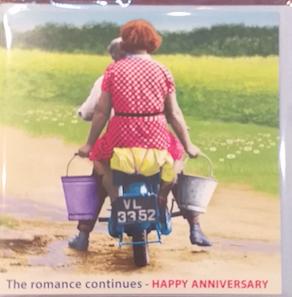 """THE ROMANCE CONTINUES, HAPPY ANNIVERSARY"" - Irish Made Card"