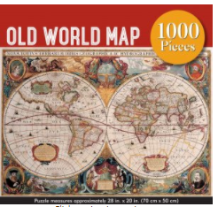 ADULT JIGSAW PUZZLE  OLD WORLD MAP  1000 PIECES