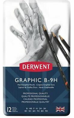 Derwent Graphic Pencils, Hard, Metal Tin, 12 Pencils