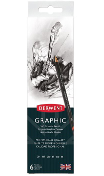 Derwent Graphic Drawing Pencils, Pack of 6 (2H/HB/2B/4B/6B/8B) with Sharpener