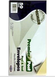 DL Envelopes Manilla 50 Pack 110mm x 220mm
