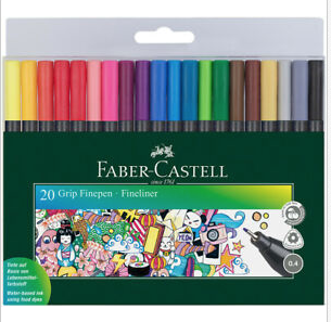 Faber-Castell Grip Finepen - Assorted Colours (Wallet of 20)