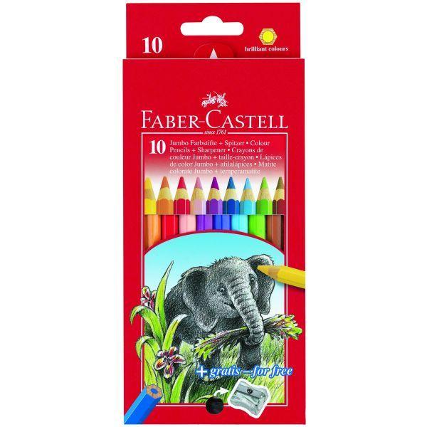 Faber Castell Jumbo Colour 10 Pencils Full Length Plus Sharpener