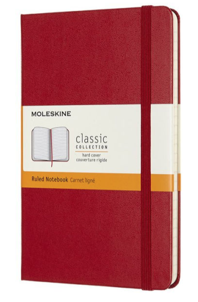 Moleskine Classic Notebook, Hard Cover, Scarlet Red, Medium with Ruled pages