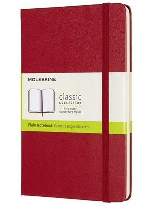 Moleskine Notebook, Medium, Plain, Scarlet Red, Hard Cover