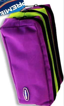 Premier 3 Pocket Zip Pencil Case - Purple and Green
