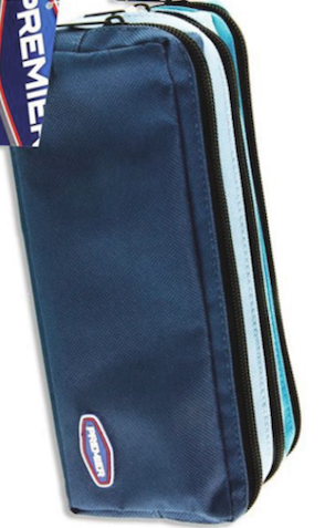 Premier 3 Pocket Zip Pencil Case – Blue / Light Blue