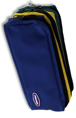 Premier 3 Pocket Zip Pencil Case - Blue, Yellow and Green