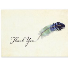PP Thank You Notecard Pack Watercolour Quill
